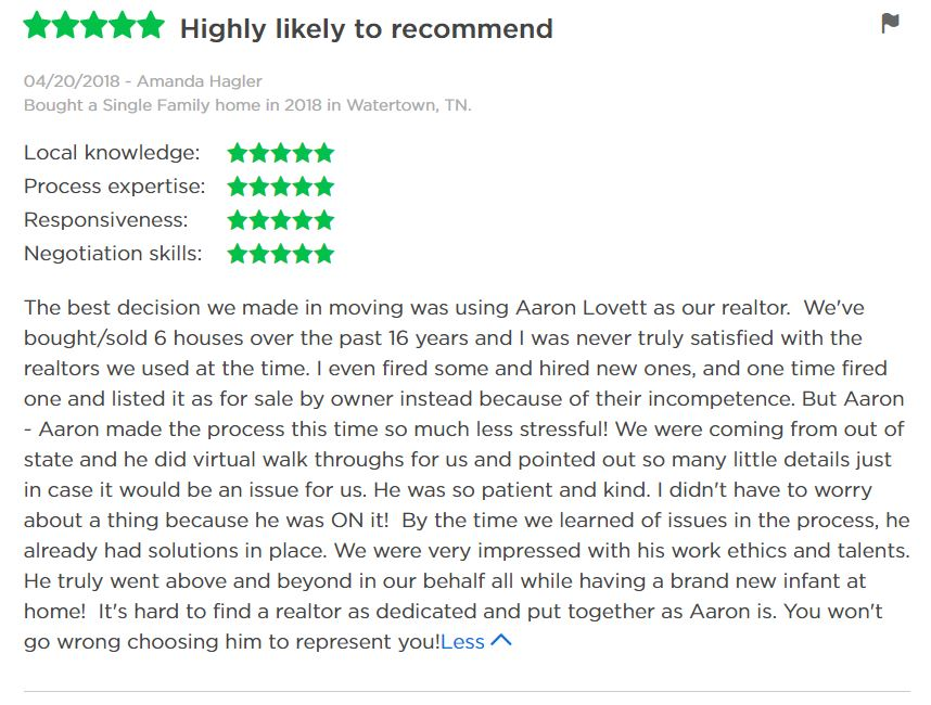 Aaron Lovett Realtor review Zillow